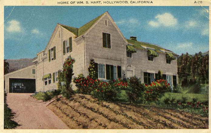 Postcard showing the home of cowboy star William S. Hart, which is a city park today