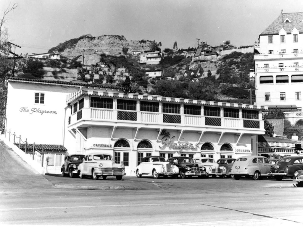 Player's Club at 8225 Sunset on the Strip in the 1940s. Owned and operated by writer-director Preston Sturges, it was considered a dinner club for movie stars. Pink Taco occupies the building now.
