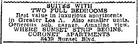 First ad for the Coronet Apartments, Aug. 29, 1939