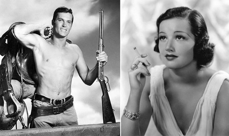 "Left: Ty Hardin in a publicity shot from the TV show, ""Bronco""; right: Arline Judge in a Columbia Pictures publicity still"