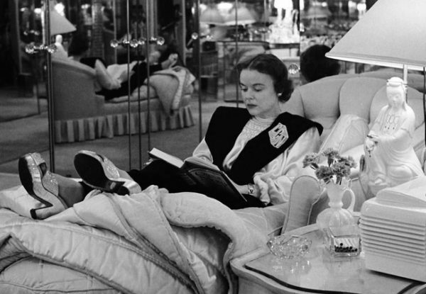 LaVonne Cohen, former Sunset Strip prostitute Simone King, who was arrested with Lee Francis in January 1940, shown here as wife of mobster Mickey Cohen, reading in their Brentwood home.