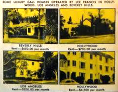 "From the cover of ""Ladies on Call,"" a few of the places leased by Lee Francis – 8439 Sunset is not shown"