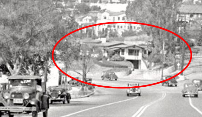 Looking west down the Sunset Strip toward the hillside house that was later converted to the Players Club.