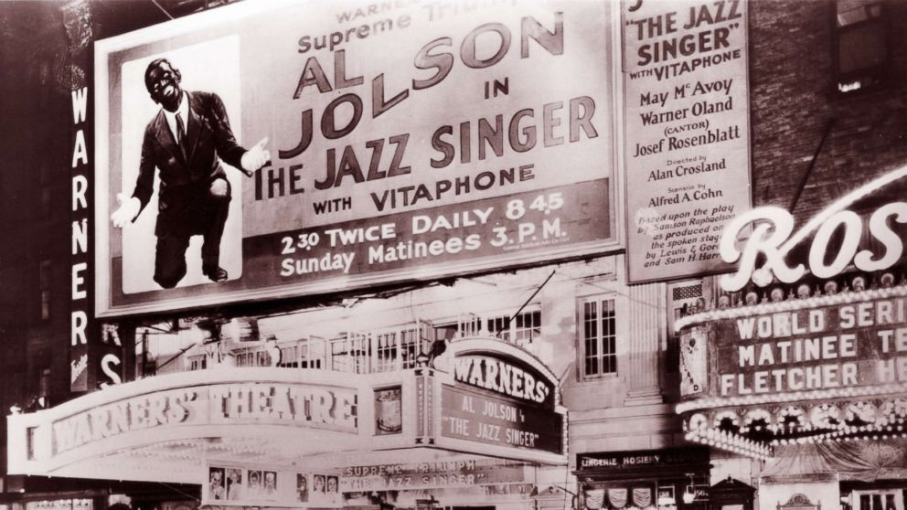 'The Jazz Singer,' featuring Al Jolson performing in blackface, playing at the Warner Bros. Theatre in New York, October 1927