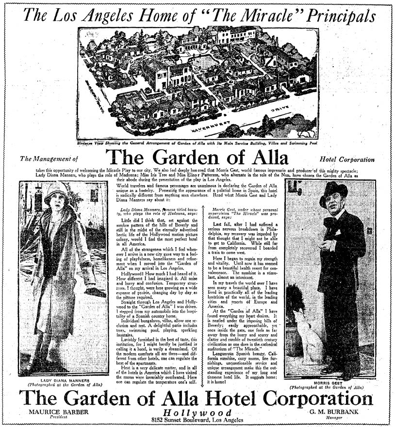Ad for the Garden of Alla Hotel that ran in the Los Angeles Times a month after its grand opening