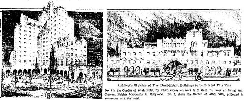 Rendering of proposed buildings to replace the Garden of Allah, June 16, 1930