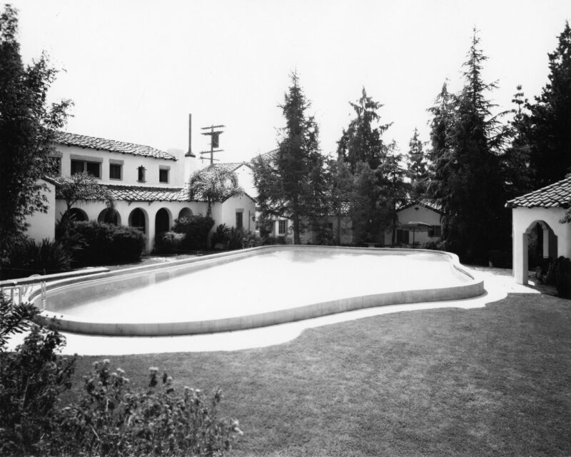 View of the Garden of Allah pool looking southeast