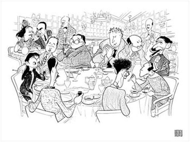 Al Hirschfield sketch of members to the Algonquin Round Table