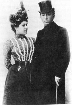 Wedding photo of Alla Nazimova-and-Sergei Golovin, 1899