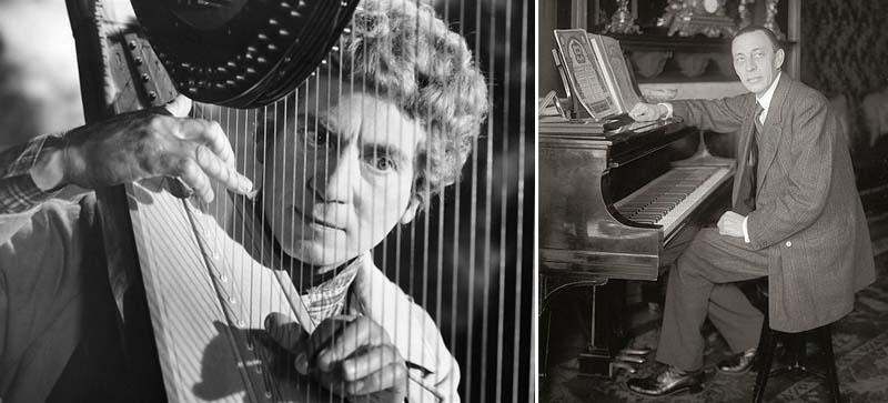 From left: Harpo Marx and Sergei Rachmaninoff