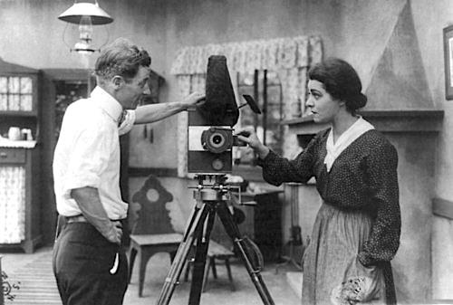"Nazimova, right, and director Herbert Brennon on the set for ""War Brides"" in 1916"