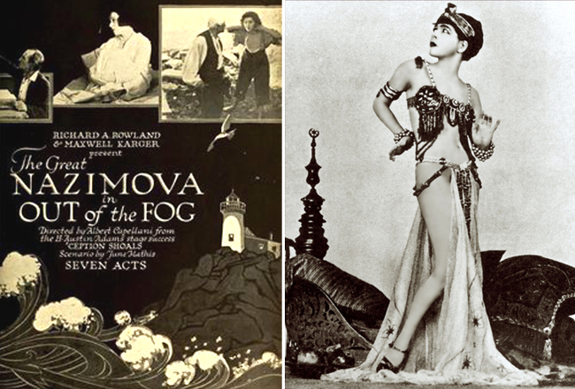 Publicity pieces for Nazimova movies, 'Out of the Fog' and 'Eye for Eye'