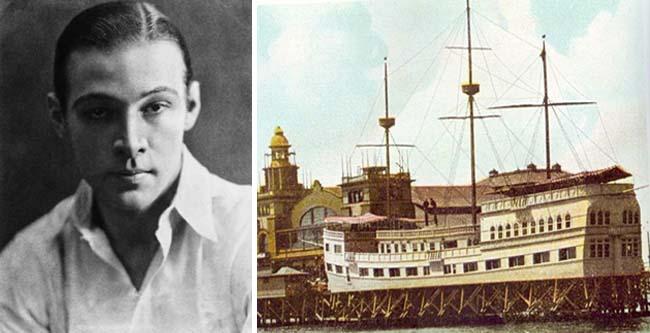 Left: Rudolph Valentino; right: the Ship Cafe in Venice, California