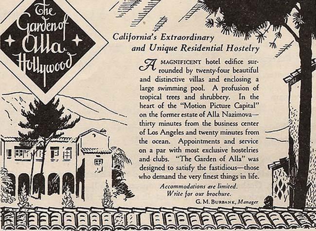 Ad for the Garden of Alla, 1927