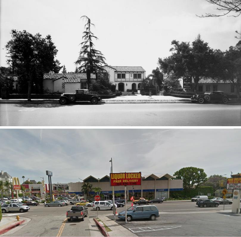 : Looking south from Selma Avenue across Sunset Boulevard at the entrance to the hotel in the 1930s. Bottom: The same view in 2018.