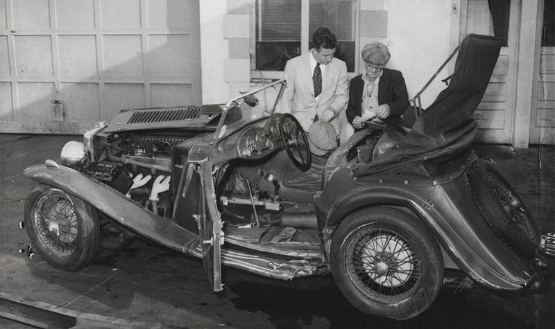 Charles Butterworths's MG Magnette after the crash