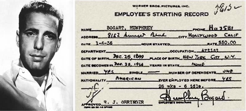 Humphrey Bogart and his Warner Brothers' employee card listing his address as 8152 Sunset Blvd., the Garden of Allah