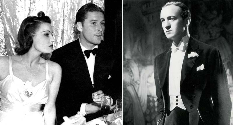 Left: Lili Damita and Errol Flynn; right: David Niven