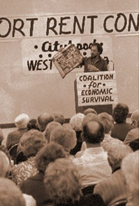 CITYHOOD: In the late 1970s, a coalition primarily of seniors and gay activists coalesced around renters' rights and other issues. The movement culminated in a vote that established the city of West Hollywood in 1984.